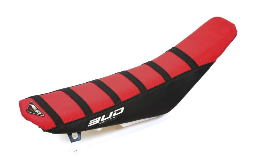 BUD Sitzbankbezug Full Traction - HONDA Ausführung=rot/schwarz mit schwarzen Streifen mit BUD-Logo - ONeal Onlineshop Wolfgang Fleisch