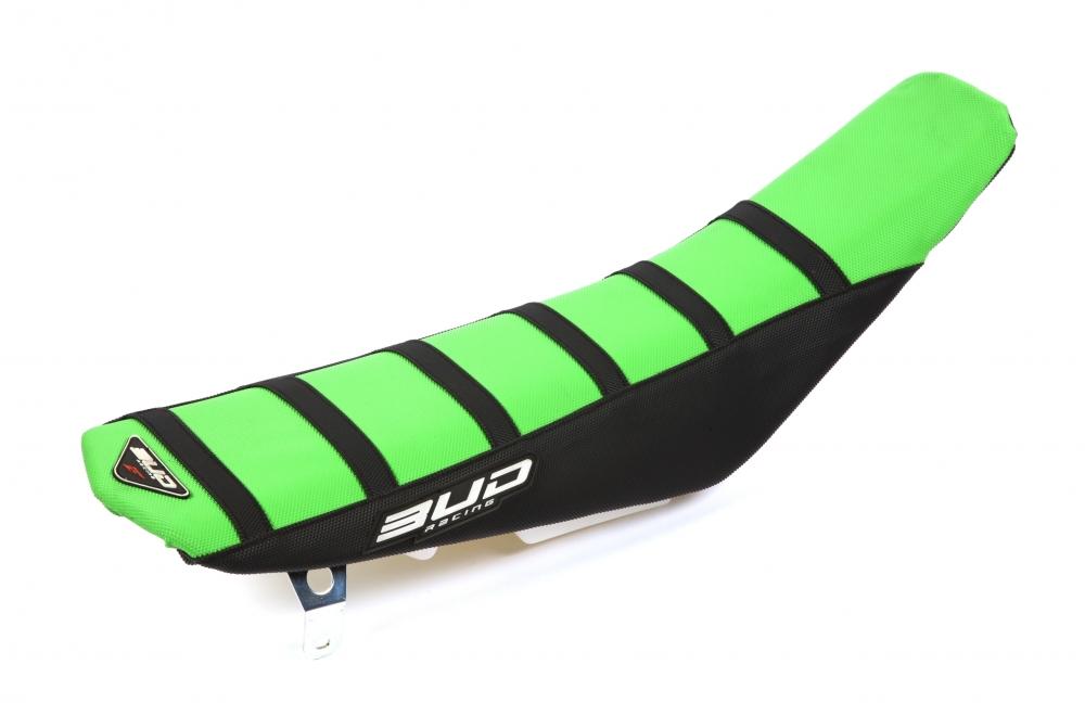 BUD Sitzbankbezug Full Traction - KAWASAKI Ausführung=grün/schwarz/schwarze Streifen mit BUD-Logo - ONeal Onlineshop Wolfgang Fleisch